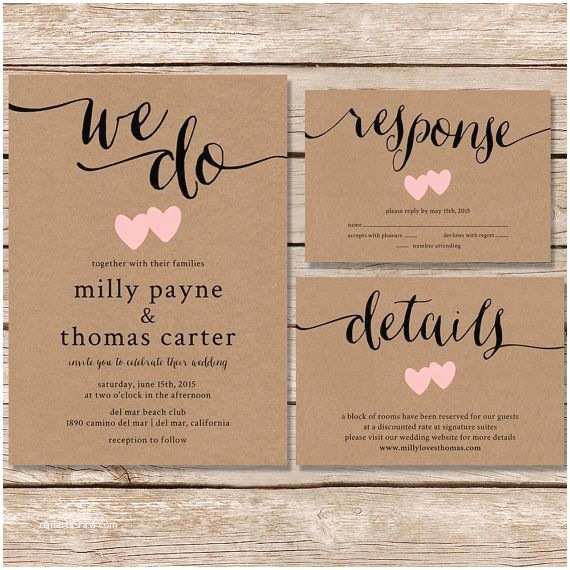 Kraft Paper Wedding Invitation Kit Rustic Wedding Invitation Kraft Paper Wedding Invite Set