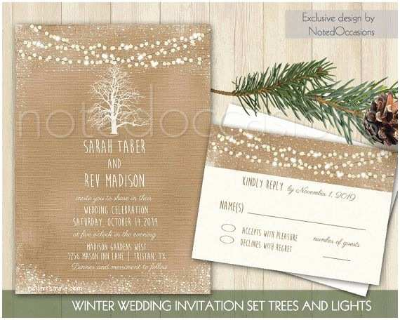 Kraft Paper Wedding Invitation Kit Rustic Winter Wedding Invitation Kit Printable Christmas