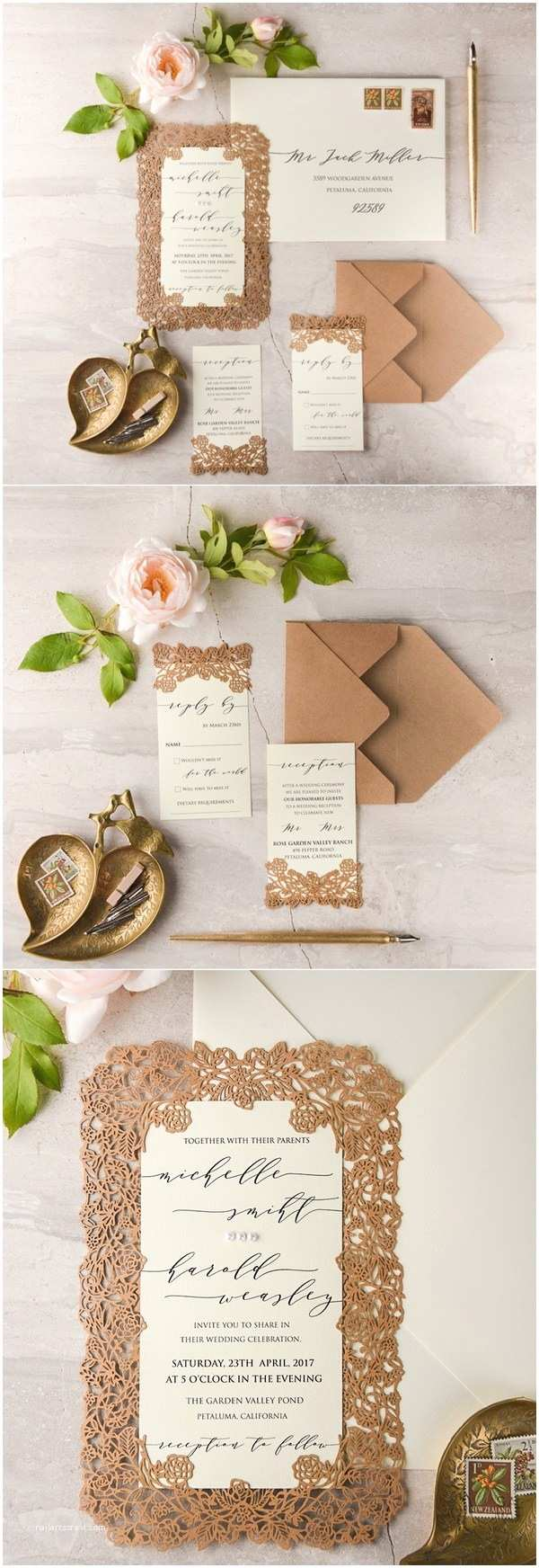 Kraft Paper Wedding Invitation Kit We Love Laser Cut Wedding Invitations 4lovepolkadots