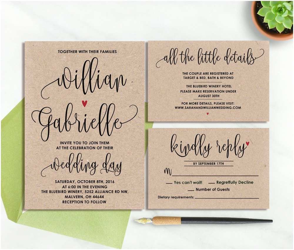 Kraft Paper Wedding Invitation Kit Wedding Invitation Kraft Paper Rustic Wedding Invitation Set