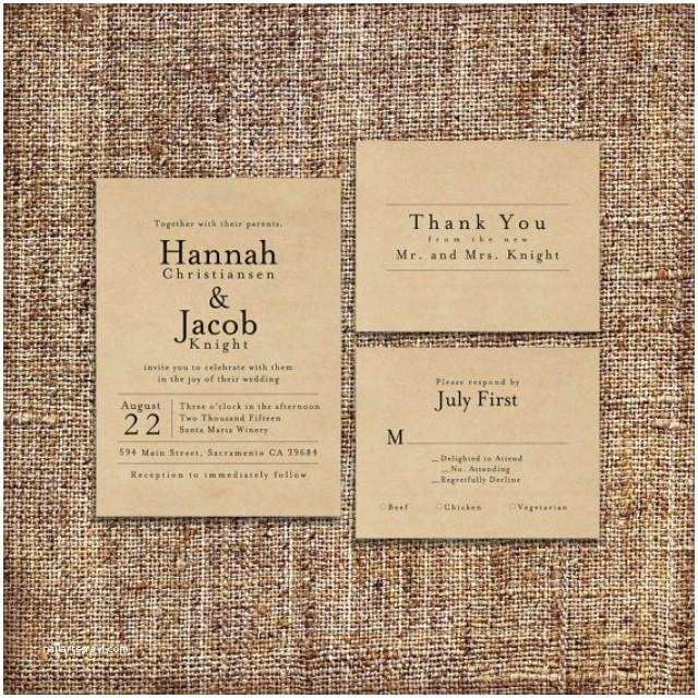 Kraft Paper Wedding Invitation Kit Wedding Invitation Set Deposit Printable Custom Diy