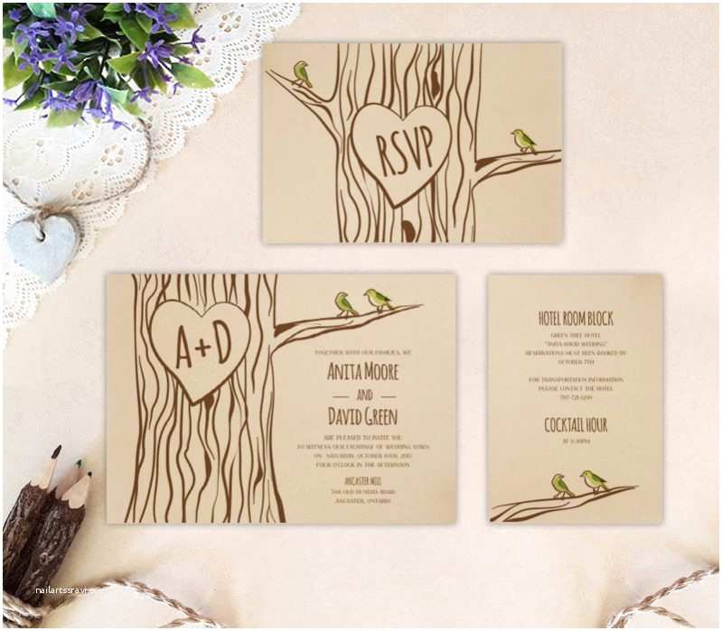 Kraft Paper Wedding Invitation Kit Woodland Wedding Invitation Kits