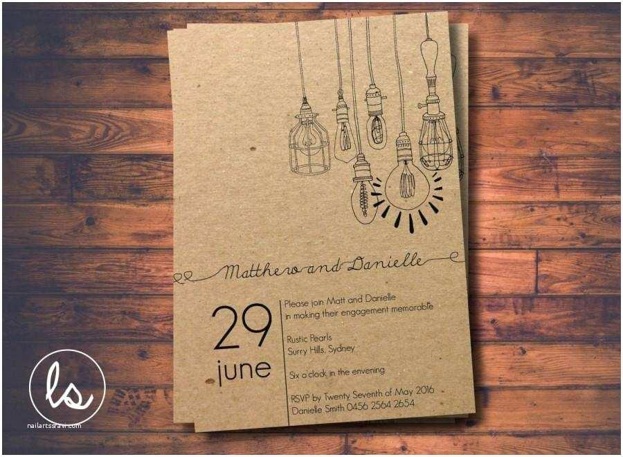 Kraft Paper Wedding Invitations Diy Printable Light Pendant Rustic Invitation