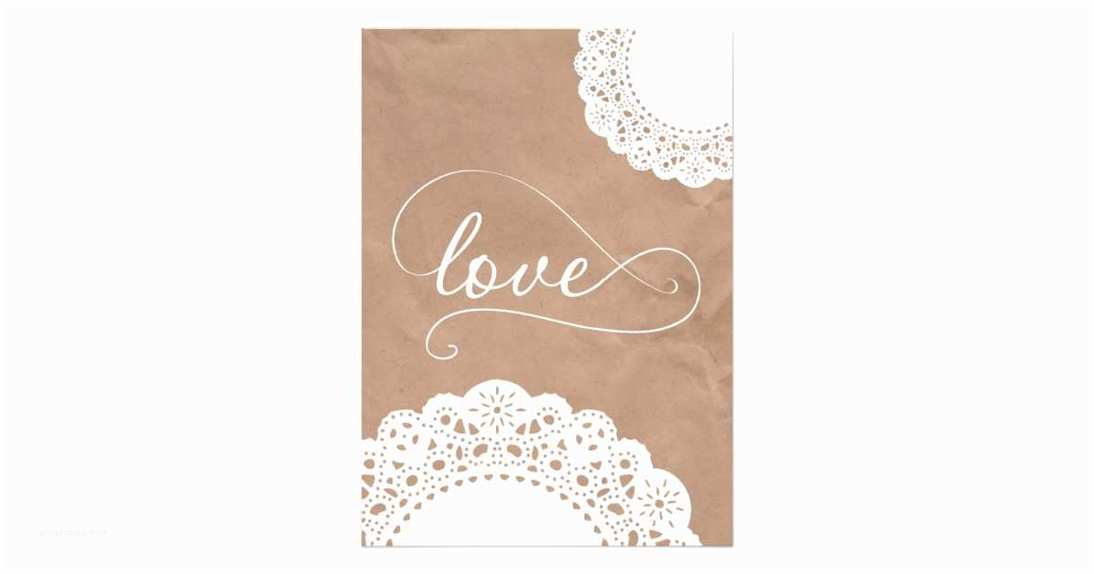 doily and kraft paper wedding invitation