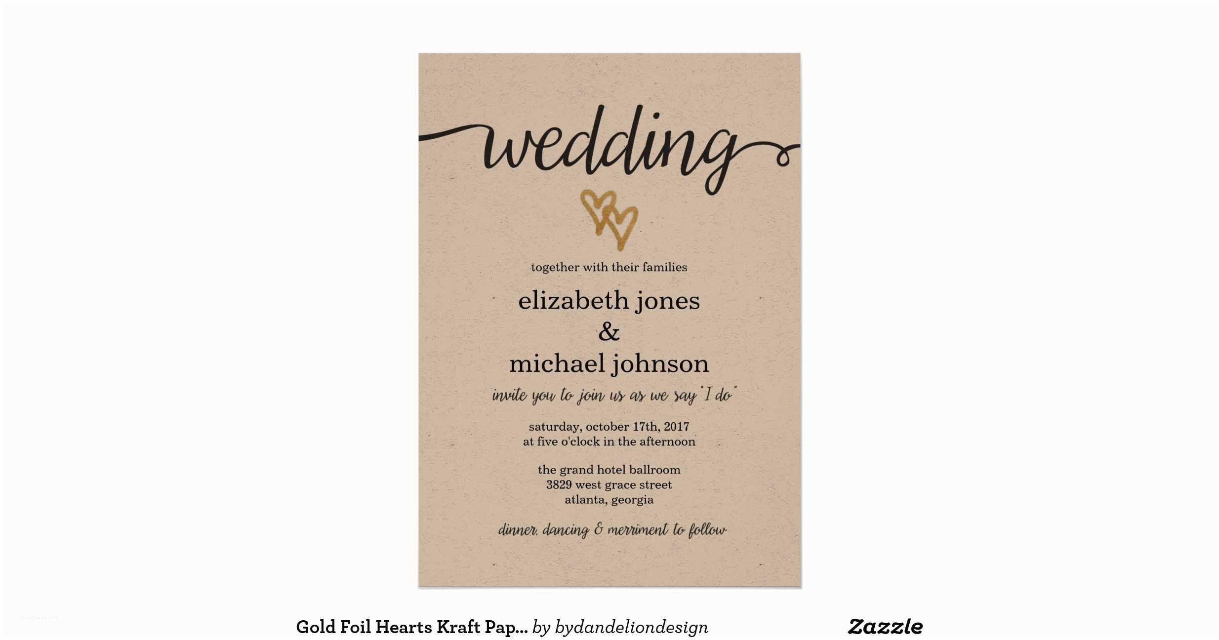 Kraft Paper Wedding Invitations Gold Foil Hearts Kraft Paper Wedding Invitation
