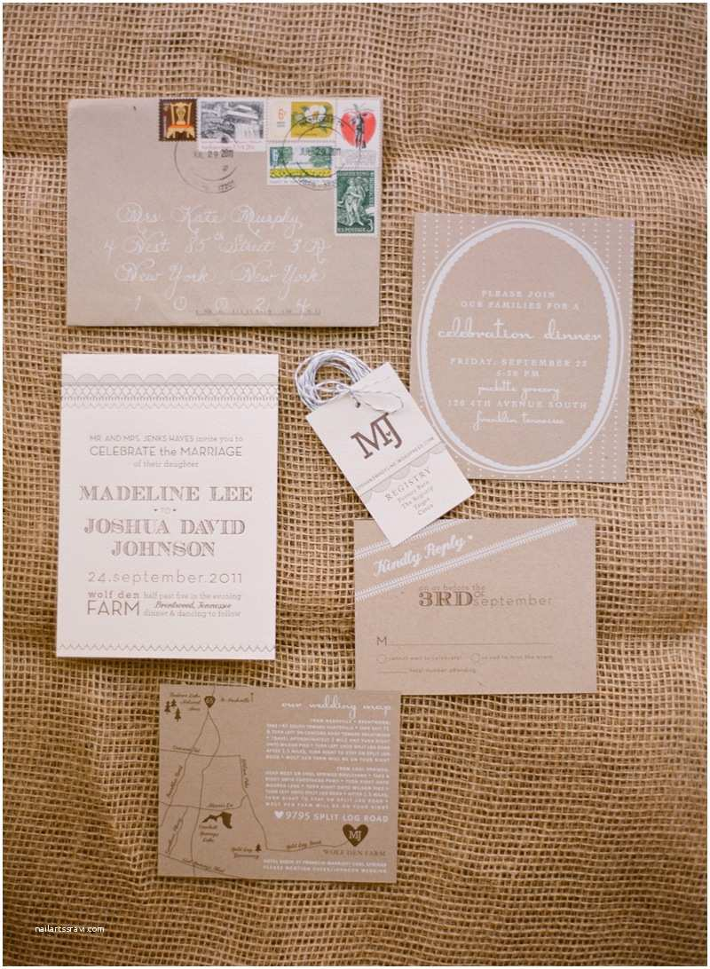 Kraft Paper Wedding Invitations Madeline Josh S Rustic Kraft Paper Tennessee Wedding