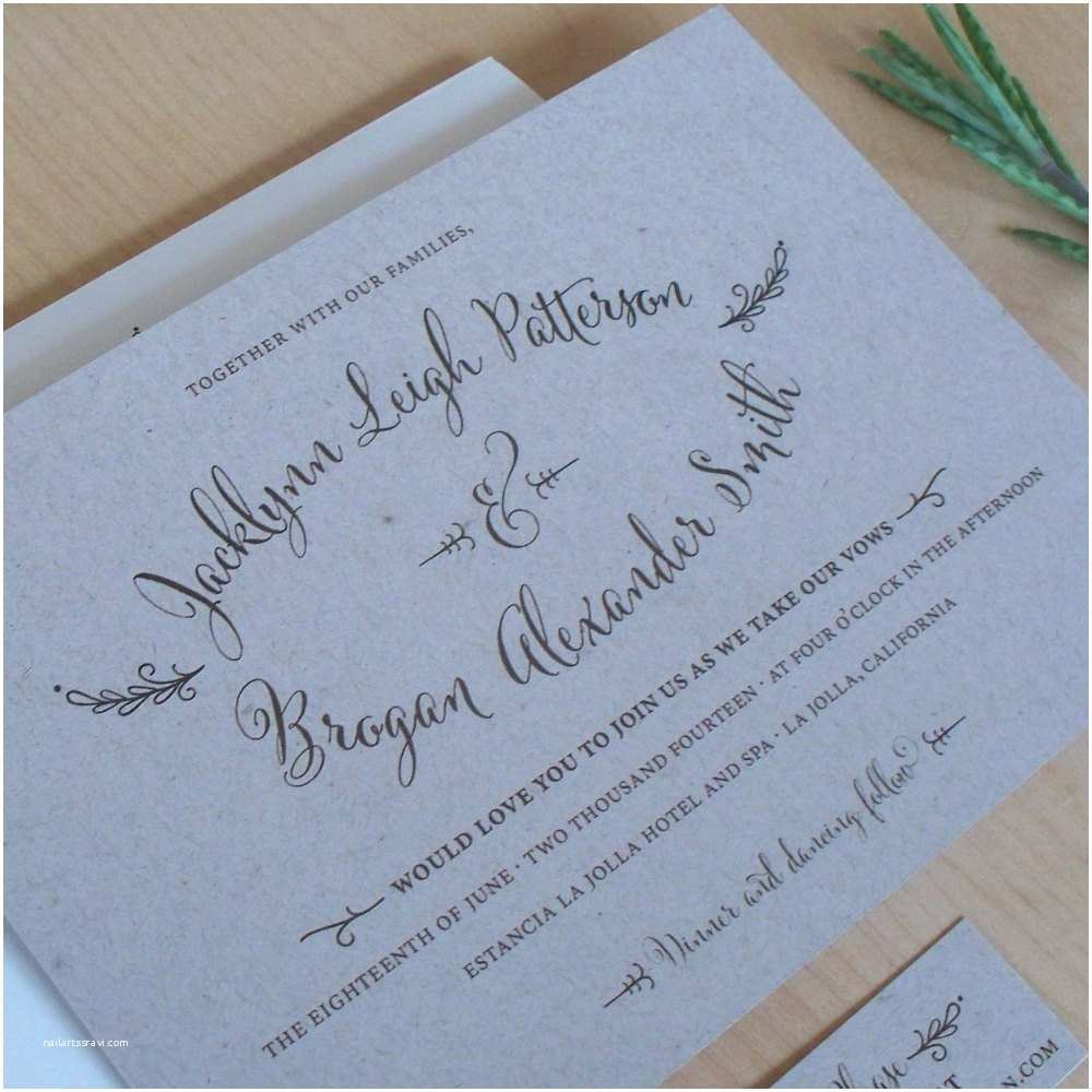 Kraft Paper Wedding Invitations Rustic Kraft Paper Wedding Invitation Outdoor Wedding