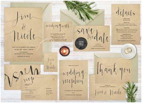 Kraft Paper Wedding Invitations Wedding Invitation Set Rustic Wedding by theprintableshop