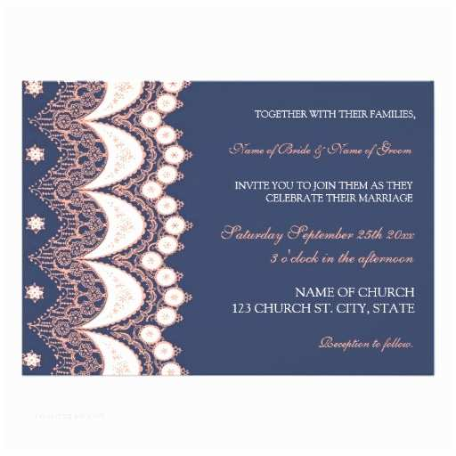 "Lace Pattern Wedding Invitations Coral Blue Lace Pattern Wedding Invitation Cards 5"" X 7"