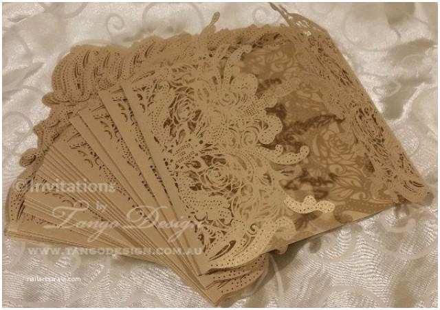 Lace Pattern Wedding Invitations Diy Lasercut Wedding Invitations Gold Lace Pattern Kit