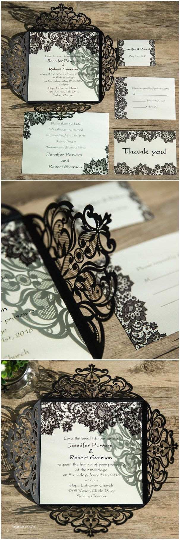 Lace Pattern Wedding Invitations Elegant Black Lace Pattern Laser Cut Wedding Invitations