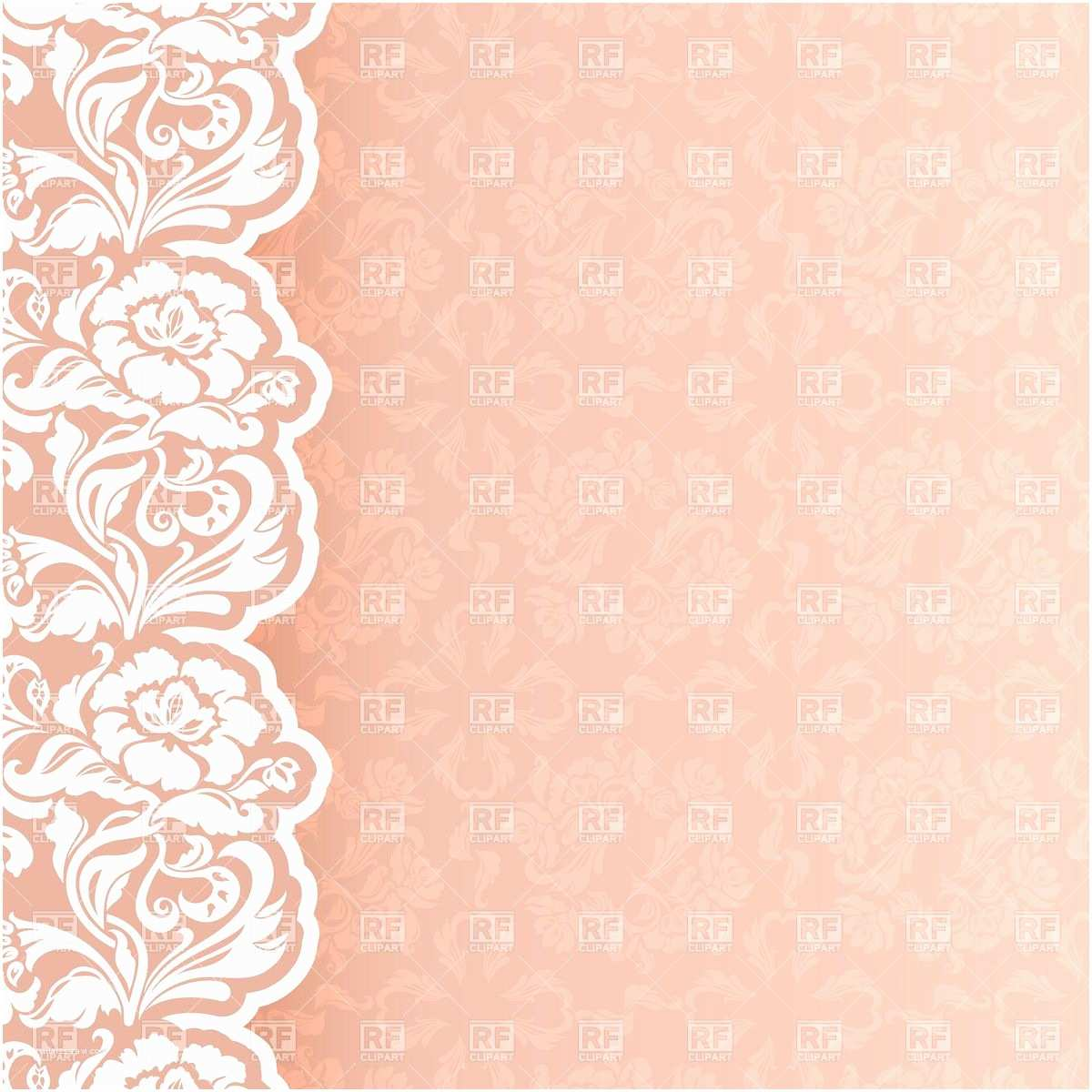 Lace Pattern Wedding Invitations Flower and Lace Border Clip Art