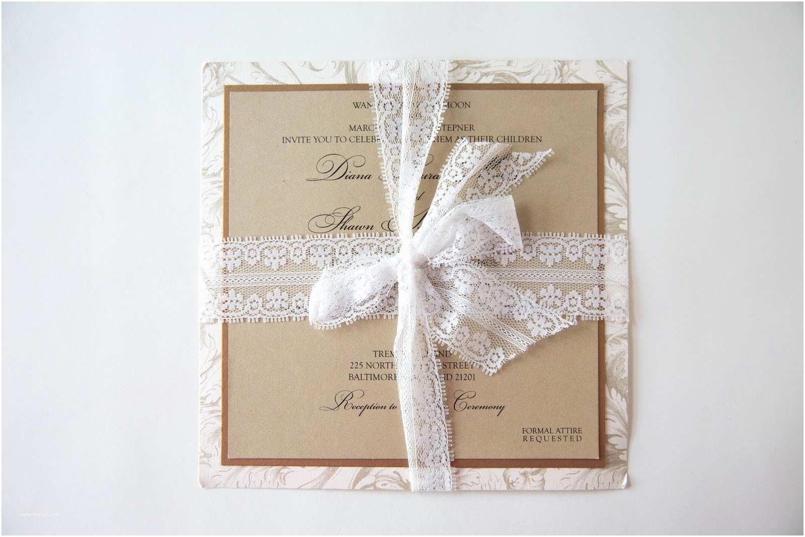 Lace Pattern Wedding Invitations Kindly R S V P Designs Blog Lace Ribbon Wedding
