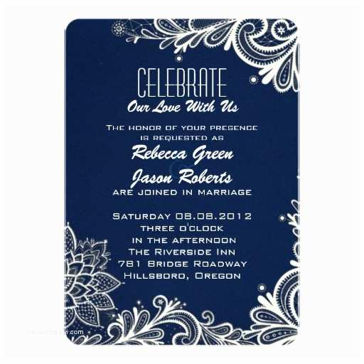 Lace Pattern Wedding Invitations Modern White Lace Pattern Navy Blue Wedding 13 Cm X 18 Cm