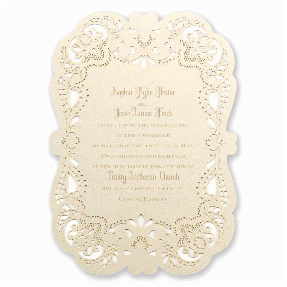 Lace Pattern Wedding Invitations Opulent Lace Laser Cut Invitation