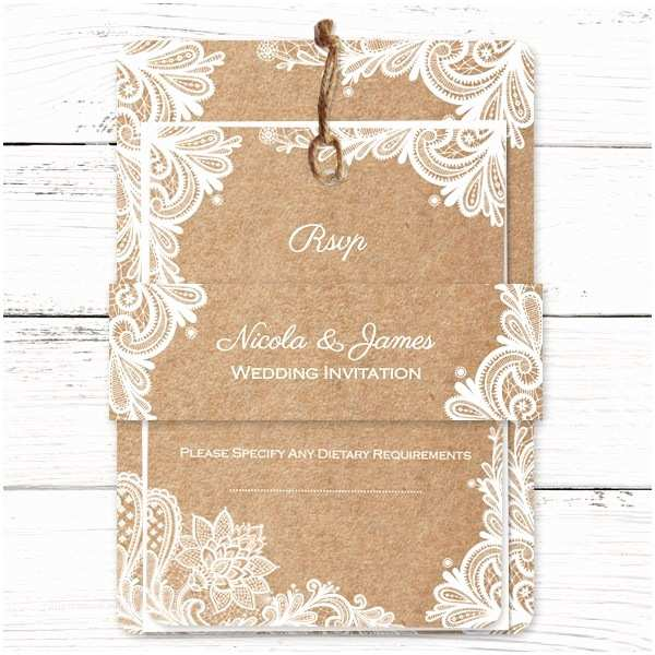 rustic wedding lace wedding invitation pack