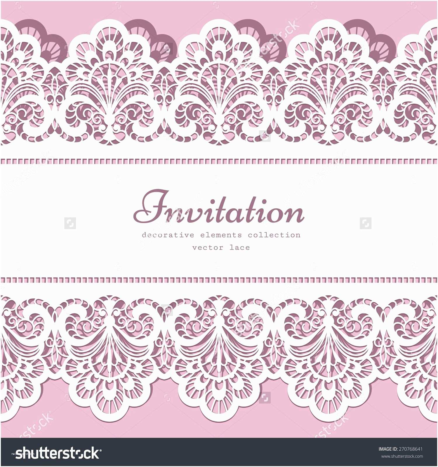 Lace Pattern Wedding Invitations Vector Lace Background with Cutout Lacy Border ornament