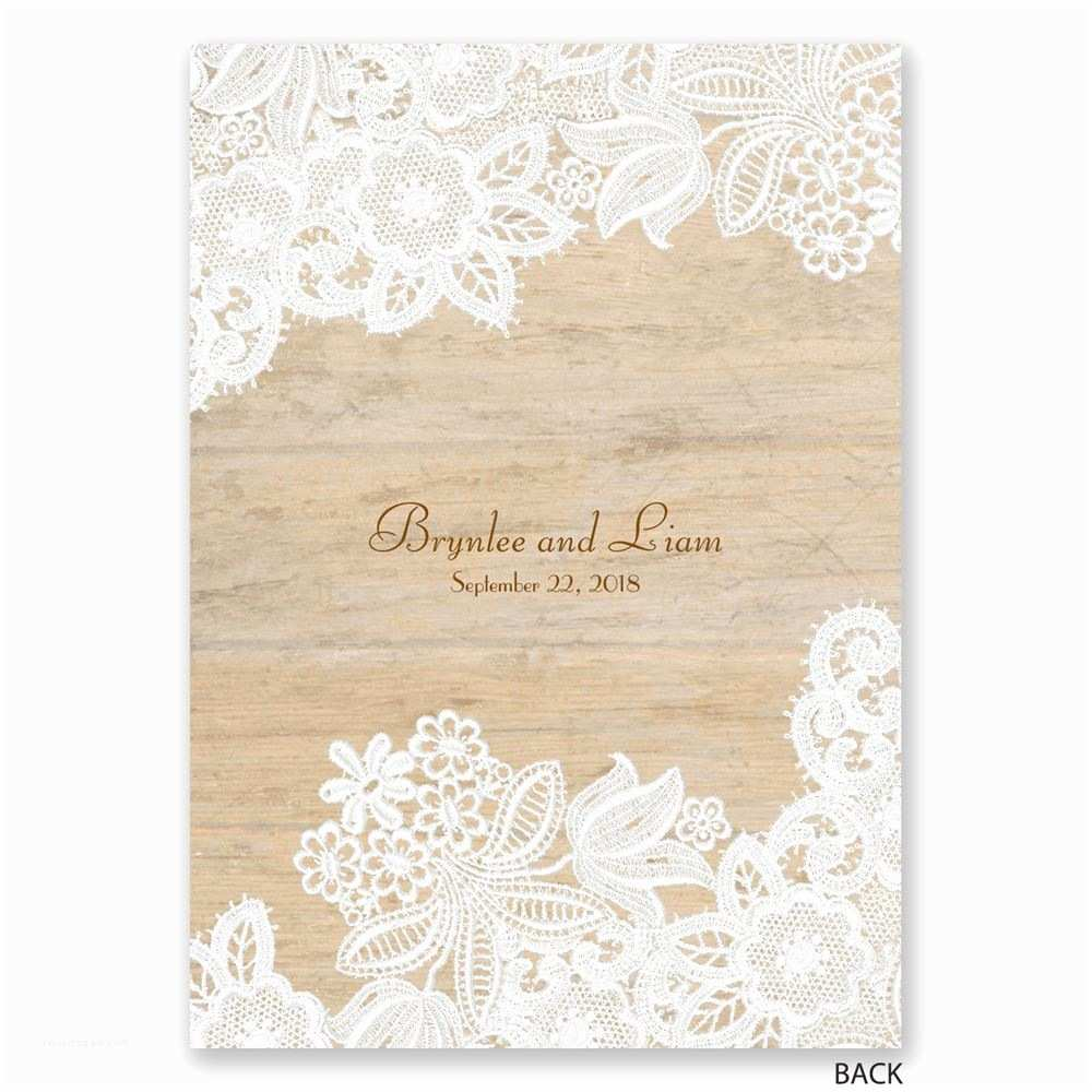 Lace Pattern Wedding Invitations Wood and Lace Invitation