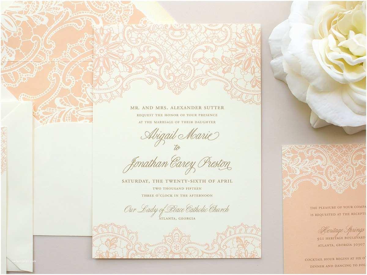 elegant lace wedding invitation vintage