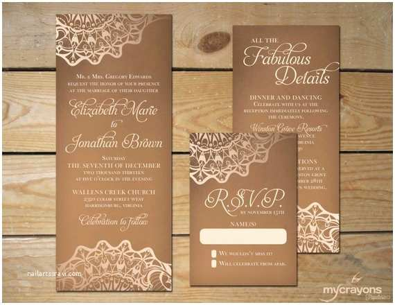 Lace Print Wedding Invitations Items Similar to Rustic Burlap Lace Wedding Invitation Set