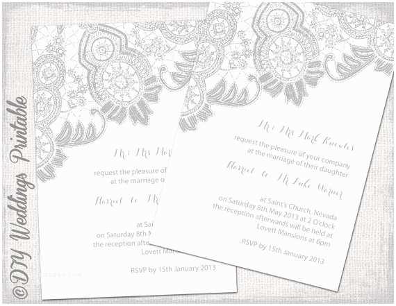 Lace Print Wedding Invitations Lace Wedding Invitation Template Silver Gray White