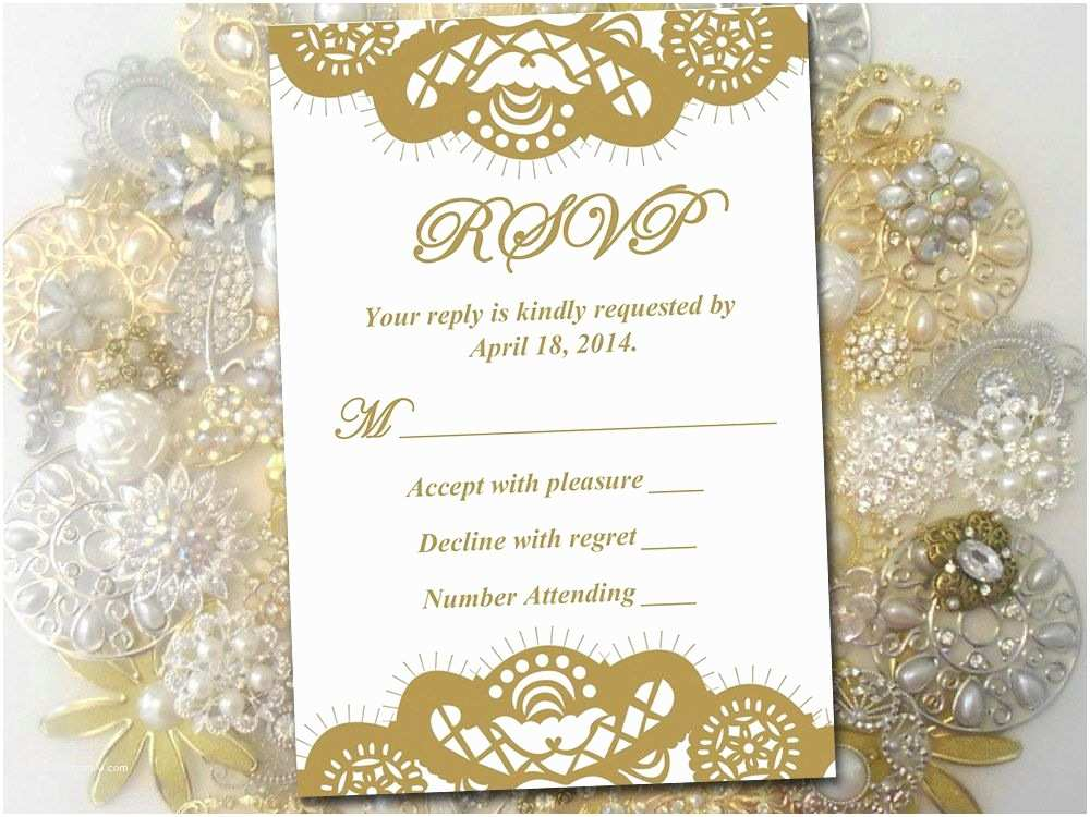Lace Print Wedding Invitations Lace Wedding Rsvp Template Response Card Printable