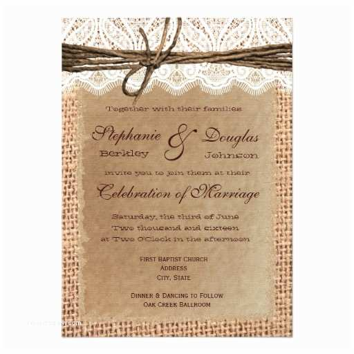 Lace Print Wedding Invitations Rustic Paper Burlap Lace Print Wedding Invitations