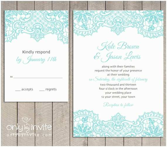 Lace Print Wedding Invitations Vintage Lace Printed Wedding Invitation and Rsvp by