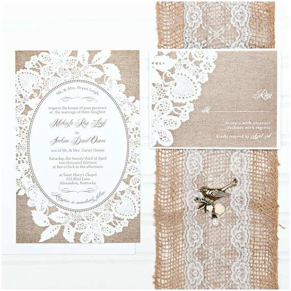 Lace Wedding Invitations Cheap Burlap and Lace Wedding Invitation Suite Custom by