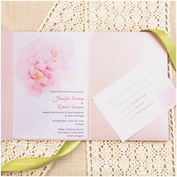 Lace Wedding Invitations Cheap Cheap Pink Watercolor Rose Lace Pocket Wedding Invites