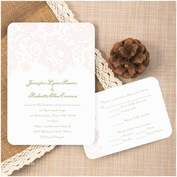 cheap romantic blush pink lace ticket shape wedding invitations ewir327