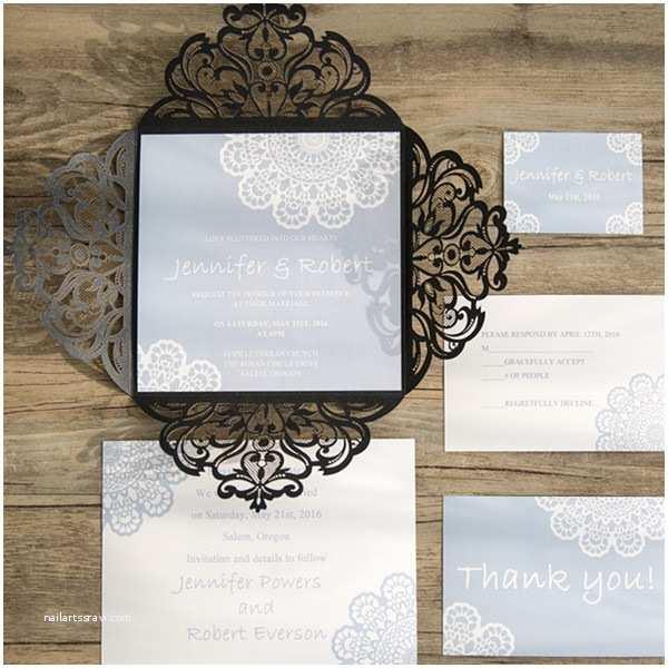 Lace Wedding Invitations Cheap Romantic Pastel Blue Lace Black Laser Cut Wedding