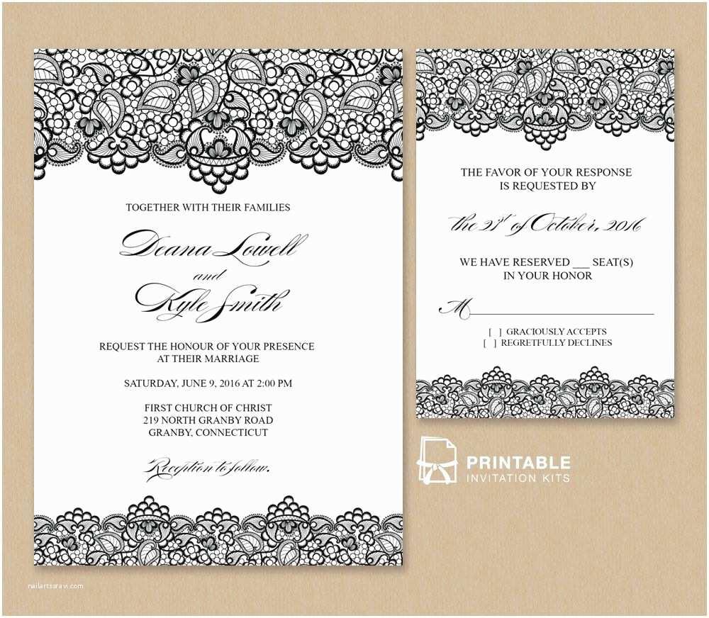 Lace Wedding Invitations Free Pdf Wedding Invitation Template Black Lace Vintage