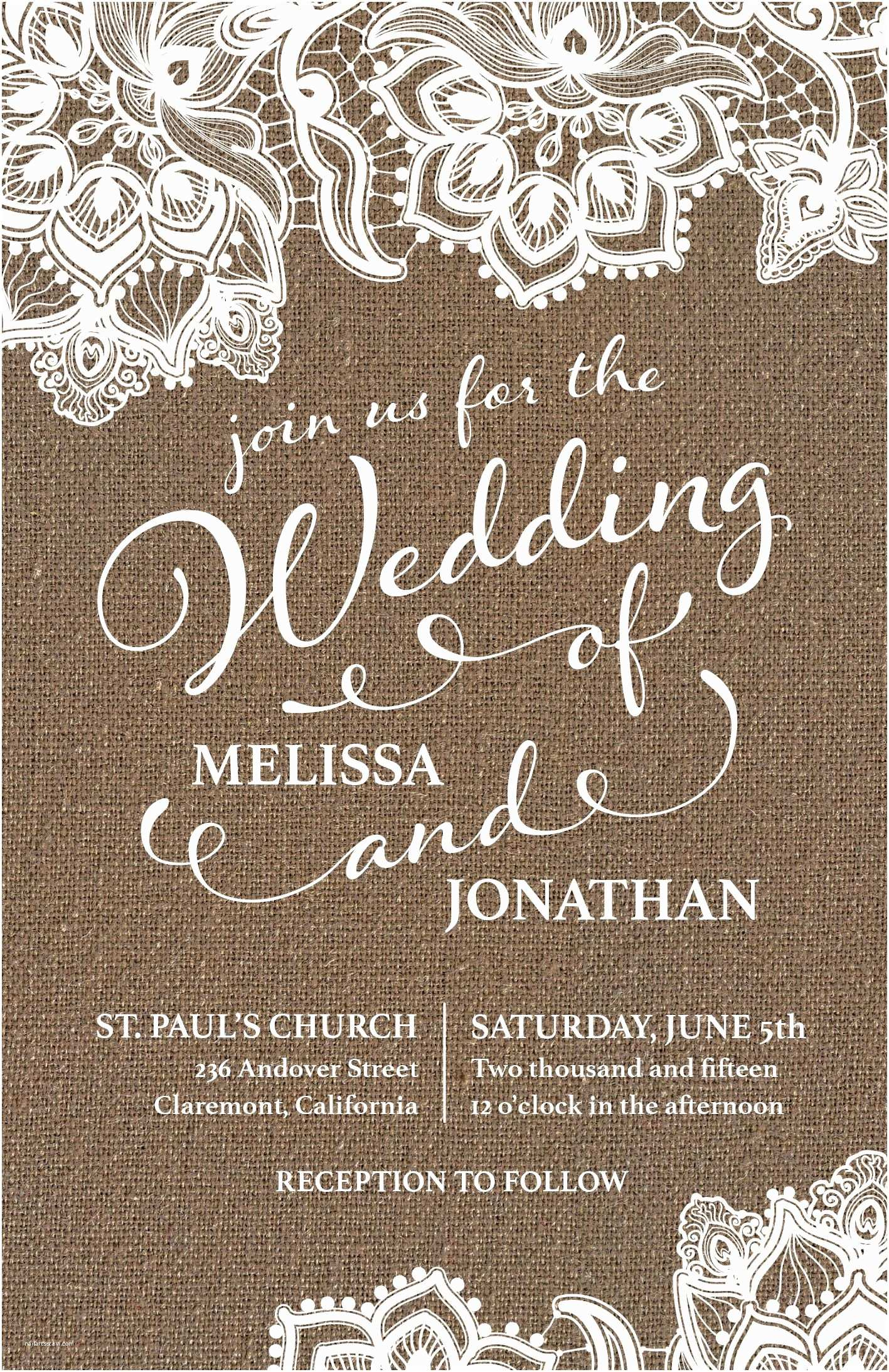 Lace Wedding Invitations Vistaprint Country Rustic Wedding Invitation Vistaprint