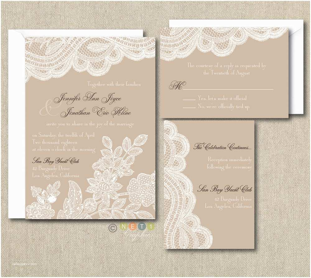 Lace Wood Wedding Invitations 100 Personalized Custom Rustic Vintage Lace Wedding