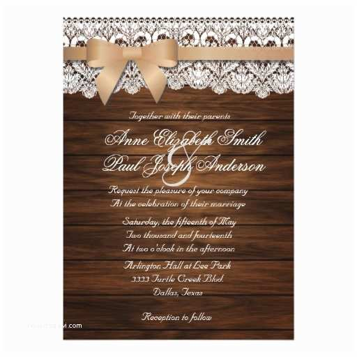 Lace Wood Wedding Invitations Barn Wood and Lace Beige Bow Wedding Invitations