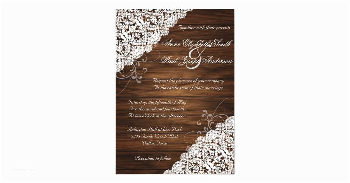 Lace Wood Wedding Invitations Barn Wood and Lace Rustic Wedding Invitations