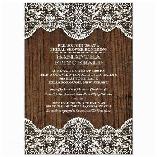 Lace Wood Wedding Invitations Bridal Wedding Shower Invitation Rustic Lace Wood