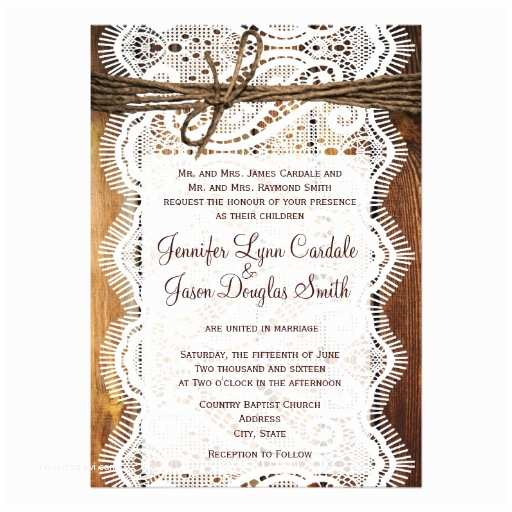 "Lace Wood Wedding Invitations Country Barn Wood Lace Twine Wedding Invitations 5"" X 7"