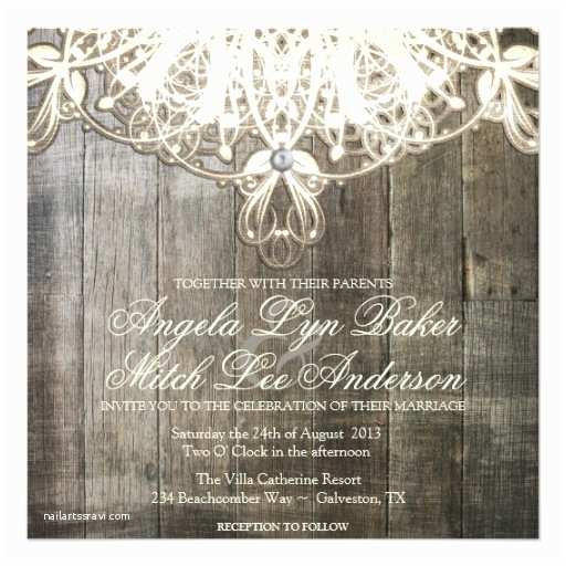 Lace Wood Wedding Invitations Country Lace and Wood Rustic Wedding Invitation