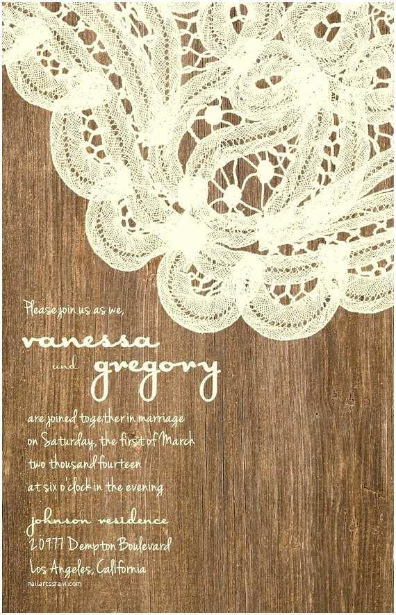 Lace Wood Wedding Invitations Custom Western Wood and Elegant Lace Wedding by Joyinvitations