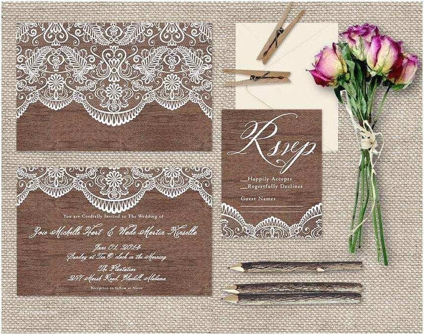 Lace Wood Wedding Invitations Lace & Wood Wedding Invitations Shabby Chic Weddings