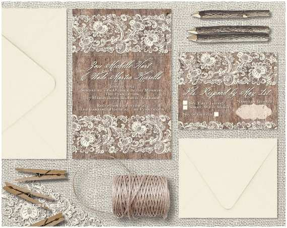 Lace Wood Wedding Invitations Lace and Wood Wedding Invitations Wood & Lace Wedding