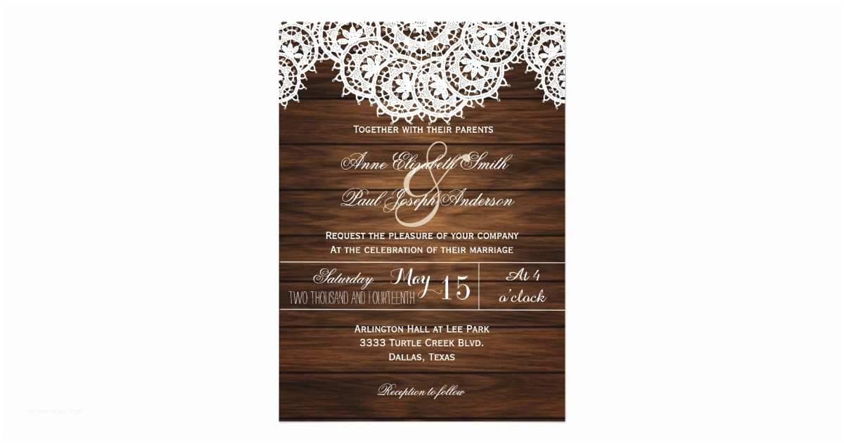 Lace Wood Wedding Invitations Lace Doilies Wood Rustic Wedding Invitations V