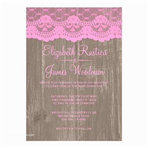 "Lace Wood Wedding Invitations Pink Brown Rustic Lace Wood Wedding Invitations 5"" X 7"
