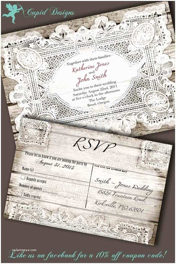 Lace Wood Wedding Invitations Printable Wedding Invitation Rustic Wood and Lace