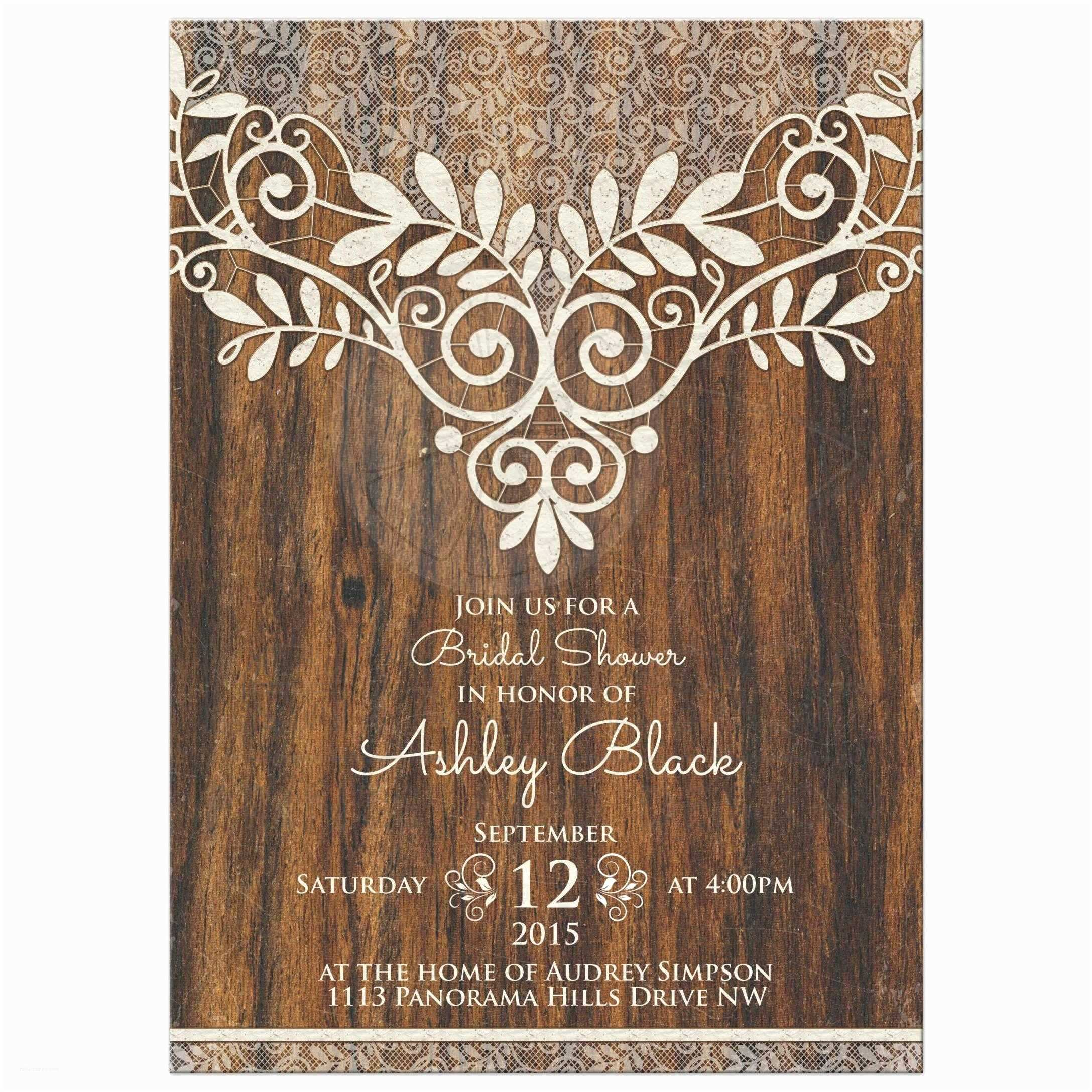 Lace Wood Wedding Invitations Rustic Bridal Shower Invitation Ivory Lace Wood