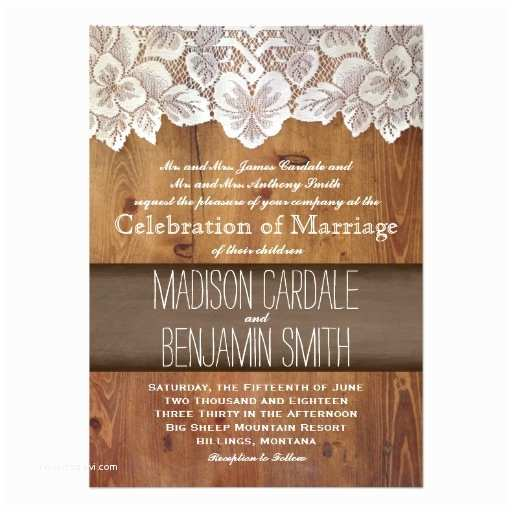 "Lace Wood Wedding Invitations Rustic Country Barn Wood Lace Wedding Invitations 4 5"" X 6"