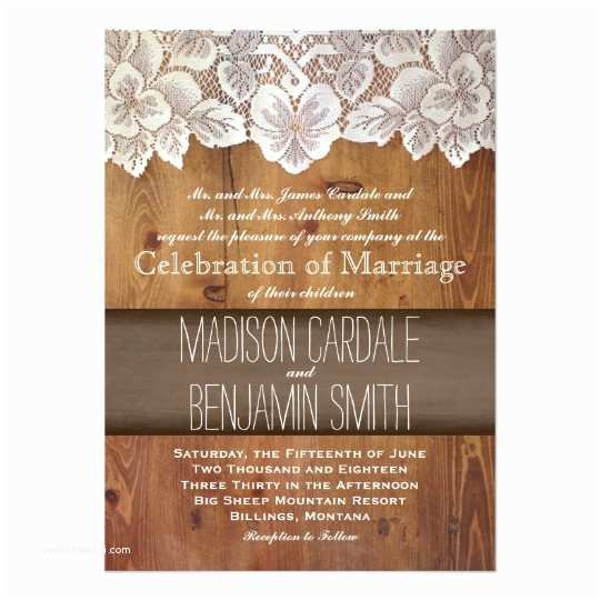 Lace Wood Wedding Invitations Rustic Country Barn Wood Lace Wedding Invitations