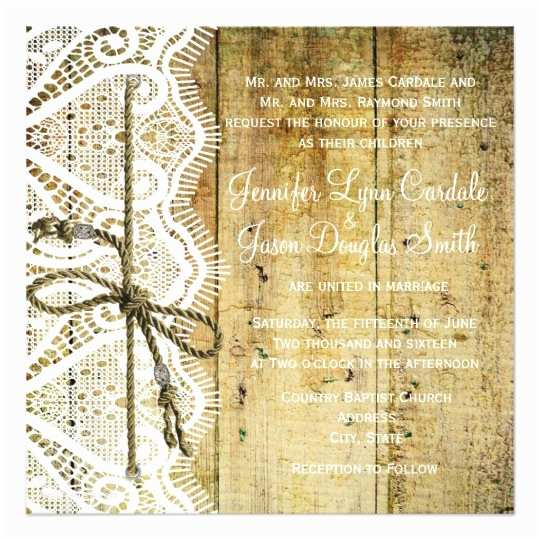 Lace Wood Wedding Invitations Rustic Country Wood Lace Square Wedding Invitation